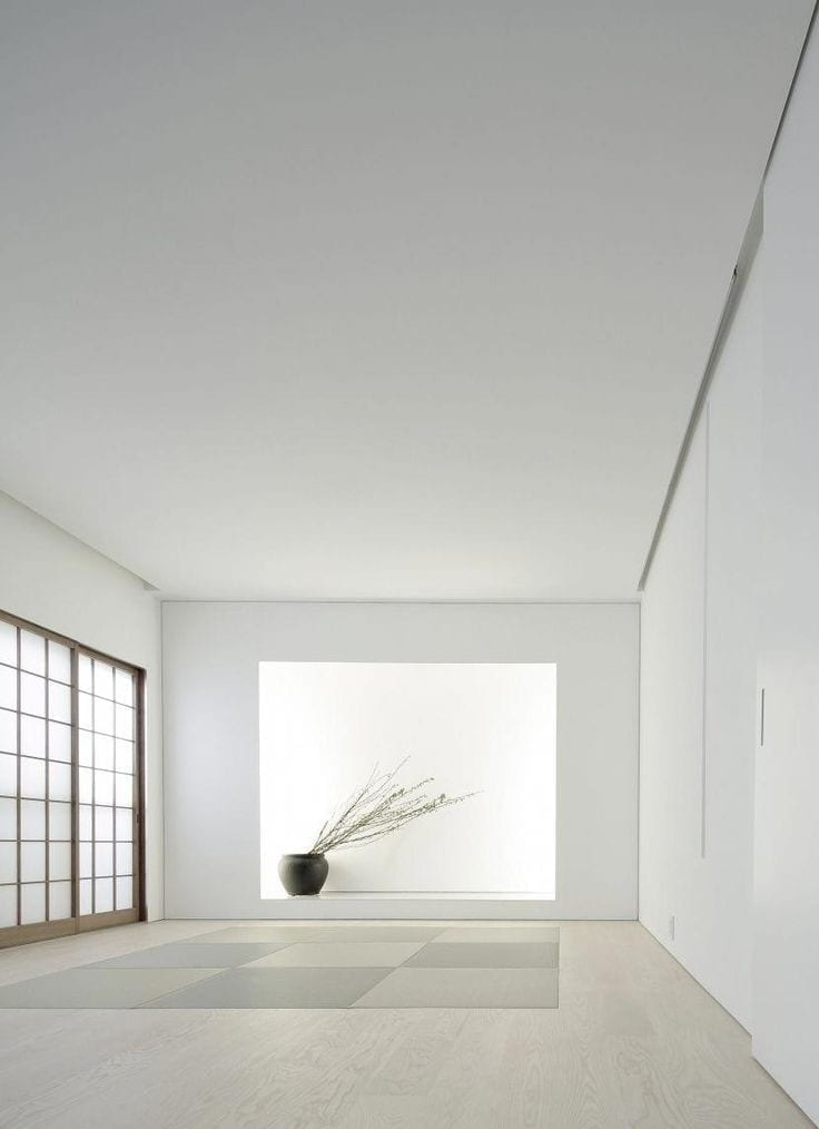 White colored Japanese Interior design room