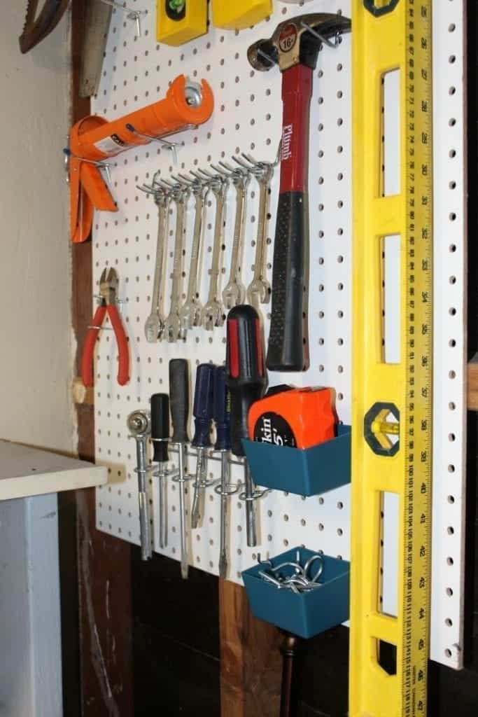 Pegboard shed interior
