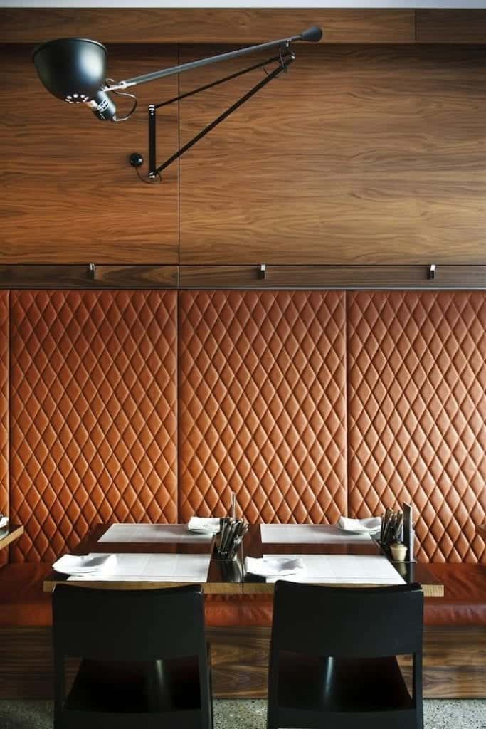Texture in interior design are often present also in restaurants