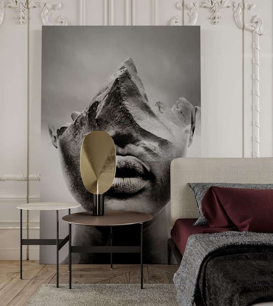 Big wall art inside bedroom