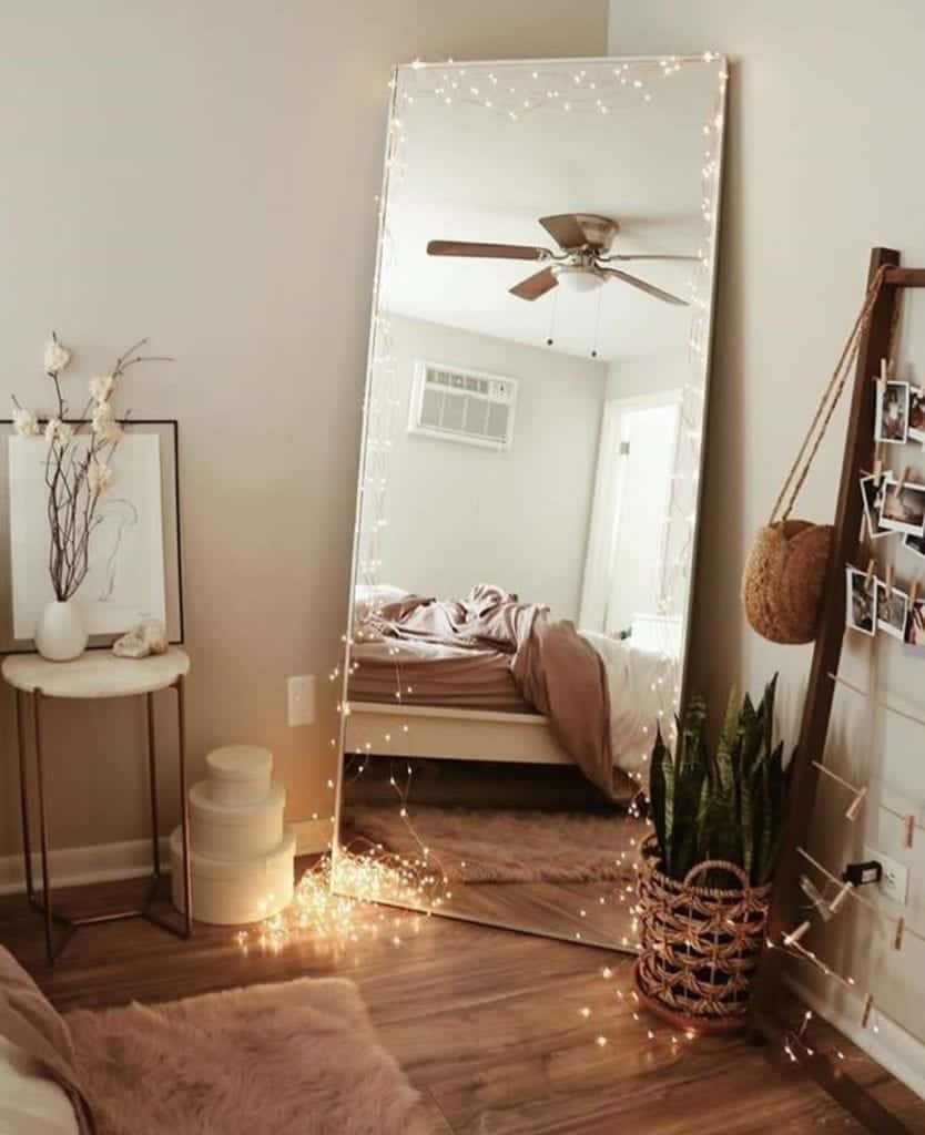 This mirror placed in corner can easy be focal point of your room