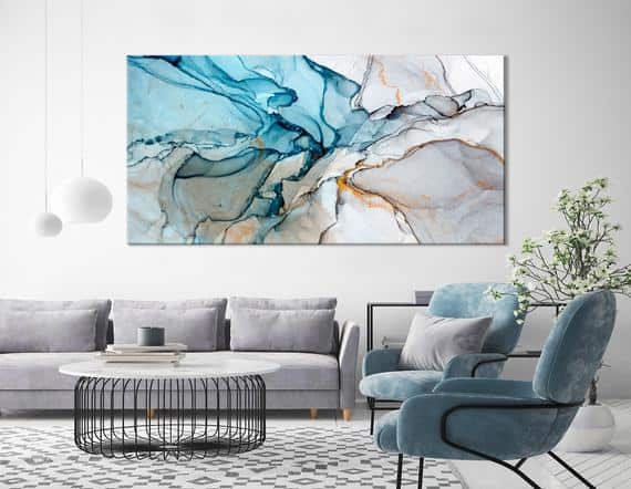 Marble look living room art