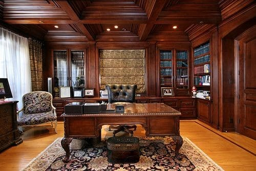 Office in traditional interior design