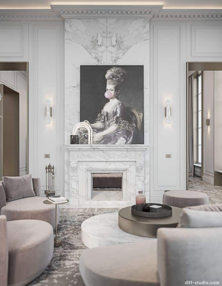 Example of emphasis used in interior design. Wall art as focal point of this living room
