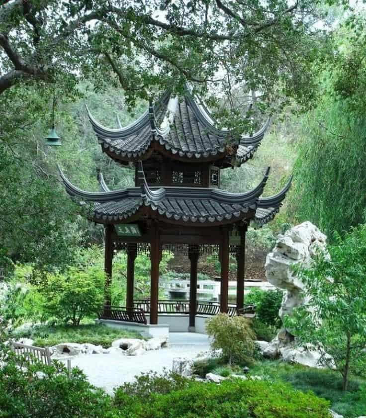 Chinese garden with building situated in center near water