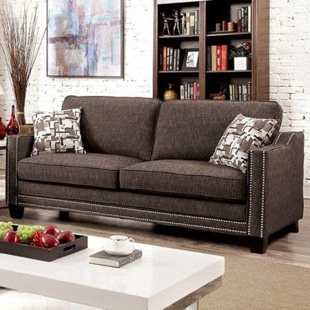 11. Track arm brown sofa