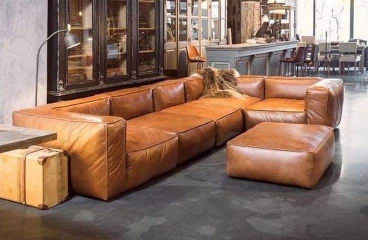 6. Sectional brown sofa