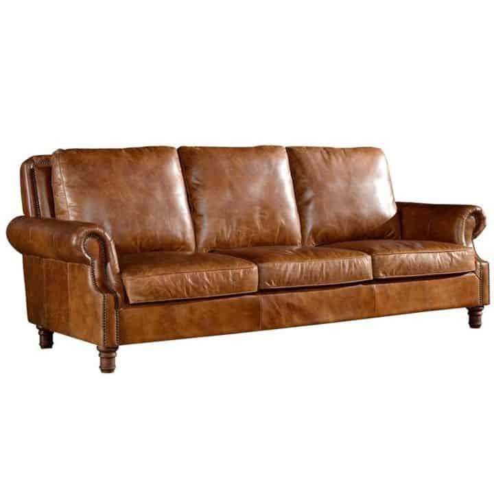 4. English roll arm brown sofa