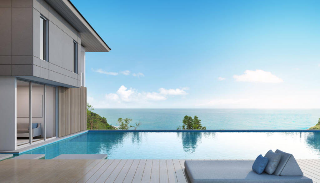 Wpc flooring is great solution for. Modern house with swimming pool