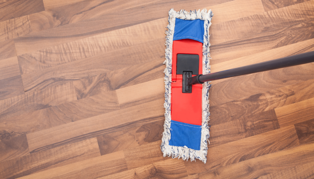 Dry Clean dust mop your Vinyl floors