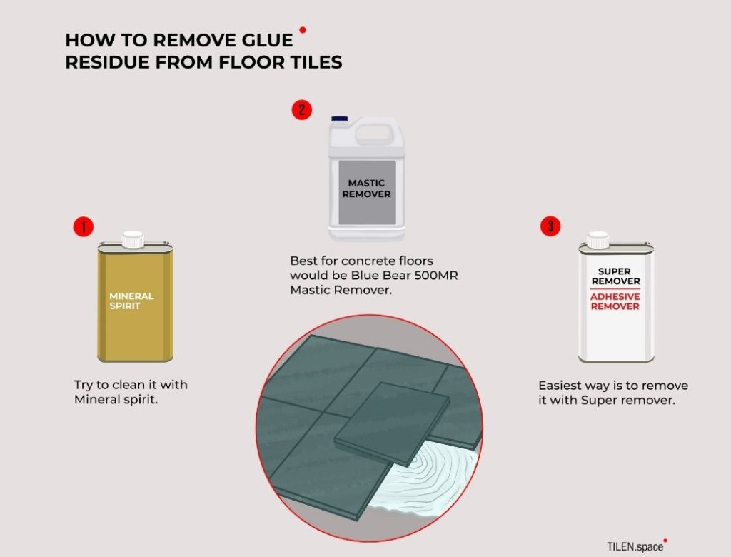 how to remove glue residue from floor tiles